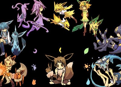 Pokemon, elements, Flareon, Eevee, Umbreon, Vaporeon, Jolteon, Leafeon, Glaceon, Hitec - desktop wallpaper