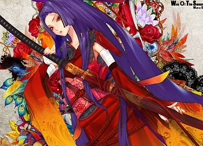 katana, patterns, long hair, blade, purple hair, Snyp, Redjuice, Japanese clothes, anime girls, detached sleeves, Kaorihime, original characters, wide sleeves - desktop wallpaper