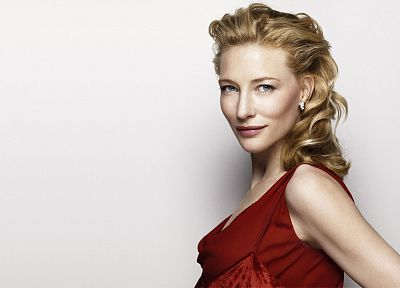 blondes, women, blue eyes, actress, Cate Blanchett, red dress, white background - desktop wallpaper