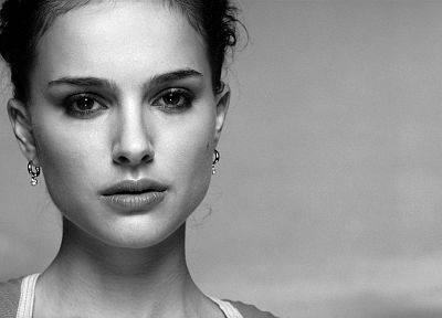 women, actress, Natalie Portman, grayscale, monochrome - random desktop wallpaper