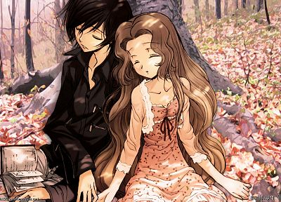brunettes, trees, Code Geass, outdoors, books, sleeping, Lamperouge Nunnally, Lamperouge Lelouch, anime, Nanalew - related desktop wallpaper