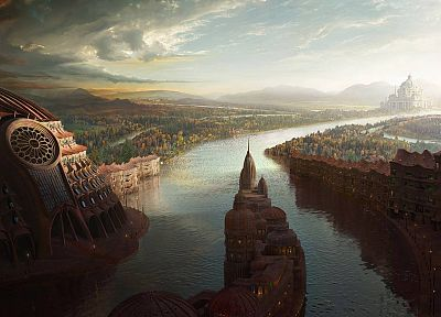 fantasy, landscapes, cityscapes, artwork - related desktop wallpaper