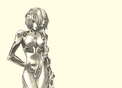 Ayanami Rei, Neon Genesis Evangelion, drawings, soft shading, simple background, fan art - related desktop wallpaper