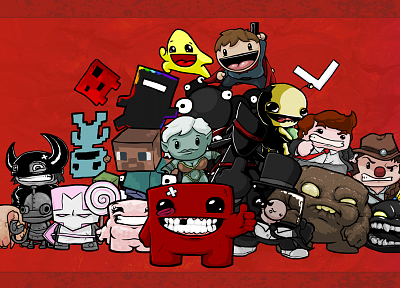 Castle Crashers, Minecraft, Headcrab, Super Meat Boy, VVVVVV, Alien Hominid, Gish - random desktop wallpaper
