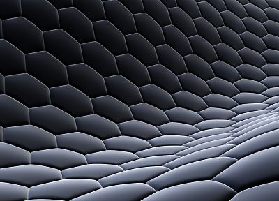 3D view, abstract, dark, design, hexagons, digital art, honeycomb - related desktop wallpaper