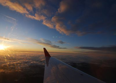 sunset, sunrise, clouds, aircraft, Orange Sun, blue skies - related desktop wallpaper
