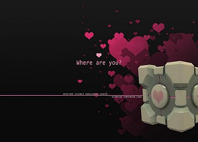science, Portal, love, Companion Cube - random desktop wallpaper