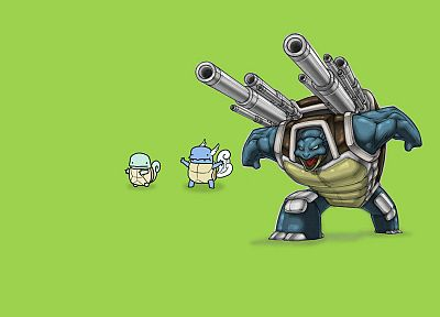 Pokemon, Squirtle, Blastoise, simple background - desktop wallpaper