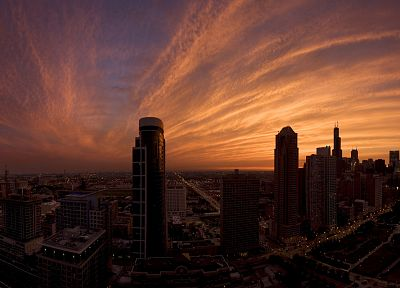 sunset, cityscapes, skylines, Chicago, architecture, urban, buildings - desktop wallpaper