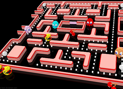 Pac-Man, 3D, Mrs Pac Man, voxels - random desktop wallpaper