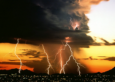 sunset, landscapes, storm, lightning, lightning bolts, natural - related desktop wallpaper