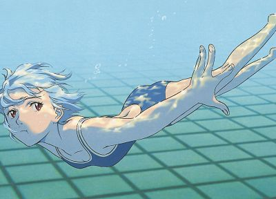 Ayanami Rei, Neon Genesis Evangelion, school swimsuits - desktop wallpaper