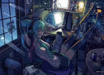 blue, Vocaloid, stockings, Hatsune Miku, iMac, room, skirts, interior, messy, twintails, window panes, aqua hair, Rubiks Cube, anime girls, detached sleeves, overknee socks, Maneki-neko - random desktop wallpaper