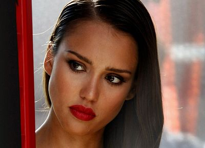women, Jessica Alba, actress, lips, faces - random desktop wallpaper