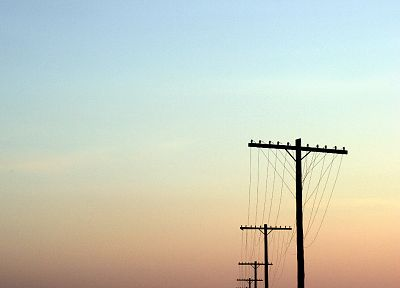 sunset, power lines, skyscapes - desktop wallpaper
