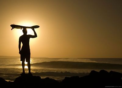 sunset, waves, silhouettes, surfing, longboard, beaches - related desktop wallpaper