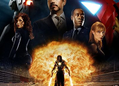 Scarlett Johansson, actress, Tony Stark, Robert Downey Jr, Gwyneth Paltrow, Mickey Rourke, Natasha Romanoff, movie posters, Don Cheadle, Whiplash, Iron Man 2, Pepper Potts, James Rupert - random desktop wallpaper