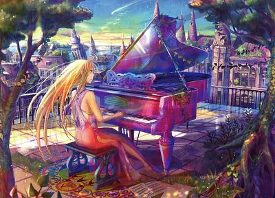 piano, artwork, Fuji Choko, anime girls - related desktop wallpaper