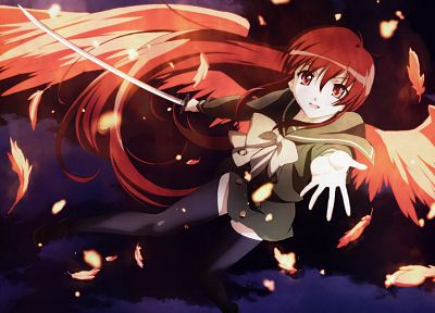 wings, Shakugan no Shana, redheads, Shana - desktop wallpaper