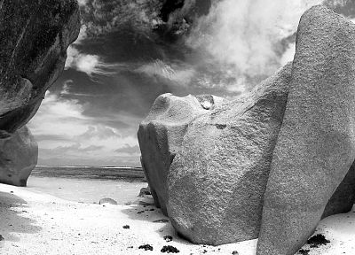 rocks, grayscale, beaches - related desktop wallpaper