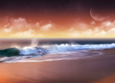 ocean, waves, artwork, beaches - desktop wallpaper