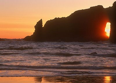 sunset, waves, National Park, Washington - desktop wallpaper