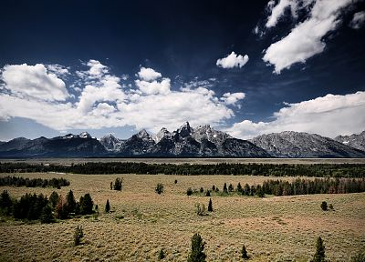 mountains, clouds, landscapes, Wyoming, Rocky Mountains - desktop wallpaper
