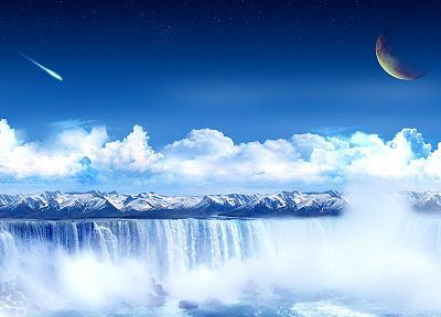 mountains, clouds, meteorite, waterfalls, photo manipulation - related desktop wallpaper