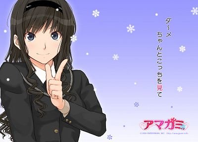 text, blue eyes, school uniforms, schoolgirls, long hair, Amagami SS, snowflakes, smiling, curly hair, Morishima Haruka, simple background, anime girls, faces, hair band, sailor uniforms, hair ornaments, purple background, bangs, black hair, gradient back - desktop wallpaper