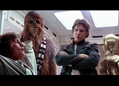 Star Wars, movies, Luke Skywalker, screenshots, Han Solo, Chewbacca, C-3PO, Harrison Ford, Mark Hamill, Star Wars: The Empire Strikes Back - random desktop wallpaper