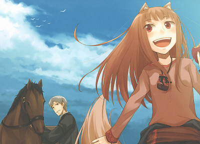 clouds, Spice and Wolf, animal ears, red eyes, Craft Lawrence, open mouth, Holo The Wise Wolf, inumimi, low-angle shot - random desktop wallpaper