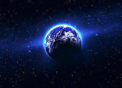 outer space, stars, Earth, Light blue earth - related desktop wallpaper