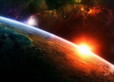light, Sun, outer space, horizon, stars, planets, Earth, bright - desktop wallpaper