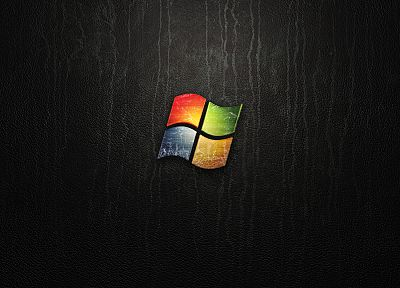 leather, abstract, black, Windows 7, Microsoft Windows, logos - random desktop wallpaper