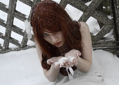 women, snow, redheads - random desktop wallpaper