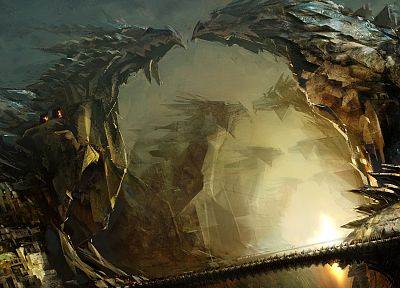 dragons, fantasy art, artwork, Guild Wars 2, Daniel Dociu, cities - desktop wallpaper