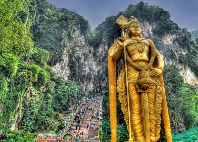 jungle, Buddha, statues, HDR photography - random desktop wallpaper
