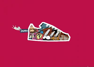 FLCL Fooly Cooly, shoes, Canti, Haruhara Haruko, simple background, Samejima Mamimi, Nandaba Kamon - desktop wallpaper