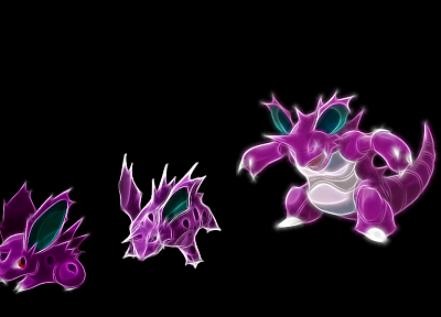 Pokemon, Nidoking, Nidorino, black background - desktop wallpaper