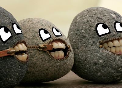 rocks, funny, stones, zippers - related desktop wallpaper