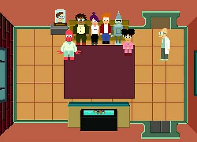 Futurama, Bender, Dr Zoidberg, Hermes, Amy Wong, Professor Farnsworth, Turanga Leela, Stephen Hawking, 8-bit, Philip J. Fry - related desktop wallpaper