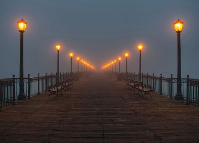 water, fog, piers, lamps - desktop wallpaper