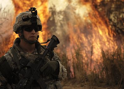 rifles, army, fire, soldier, sunglasses, forest fire - random desktop wallpaper