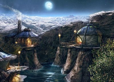 mountains, fractals, myst, panorama, huts - random desktop wallpaper