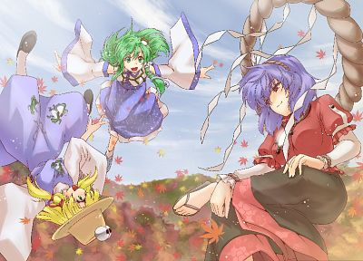 blondes, clouds, Touhou, dress, long hair, blue hair, Miko, short hair, green hair, Moriya Suwako, Kochiya Sanae, Yasaka Kanako, detached sleeves - desktop wallpaper