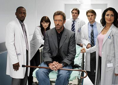 Jennifer Morrison, Lisa Edelstein, hospital, doctors, James Evan Wilson, Gregory House, cane, Omar Epps, Robert Sean Leonard, Jesse Spencer, Cuddy, Robert Chase, House M.D. - random desktop wallpaper