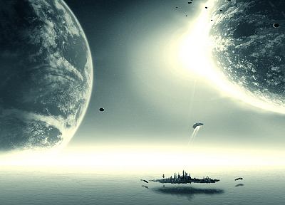 ocean, outer space, planets, Stargate Atlantis - random desktop wallpaper