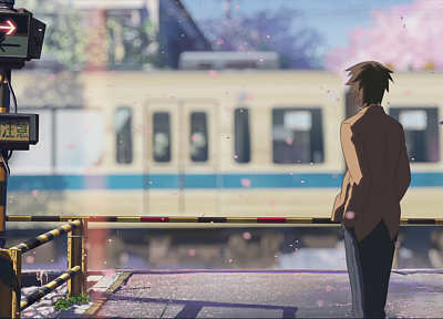 Makoto Shinkai, 5 Centimeters Per Second, artwork, anime, railroad crossing - related desktop wallpaper