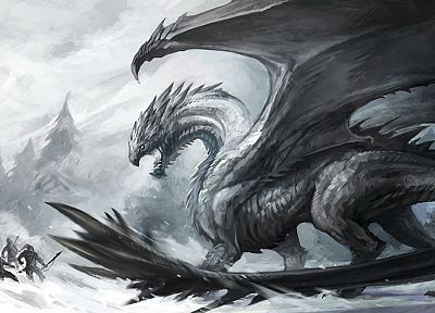 snow, dragons - random desktop wallpaper