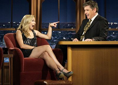 Kristen Bell, celebrity, high heels, Craig Ferguson, The Late Late Show - random desktop wallpaper